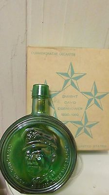 Vintage Dwight David Eisenhower Commemorative Decanter NIB pearl green glass