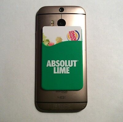 Brand New Absolut Lime Green Vodka Green Credit Card Holder Stick On Pouch RARE