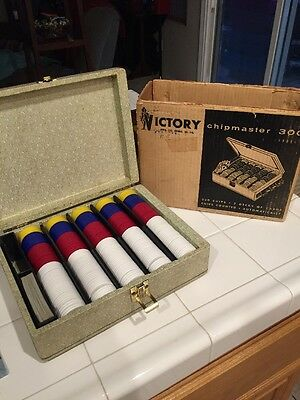 Vintage Victory Chipmaster 300 Poker Chip Set W/ Original Box 1940s? Rare