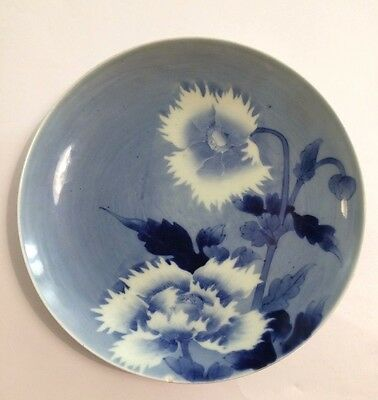 Signed 19th C Japanese Blue & White Hirado Porcelain Dish Plate