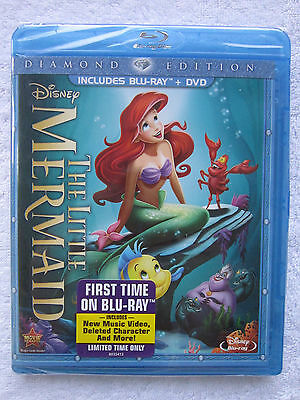 The Little Mermaid (Blu-ray/DVD, 2013, 2-Disc Set, Diamond Edition) *New*
