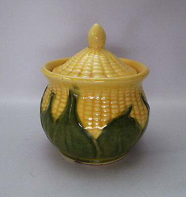 Shawnee Corn King Lidded Sugar Bowl Utility Jar 78 Yellow Green USA Pottery