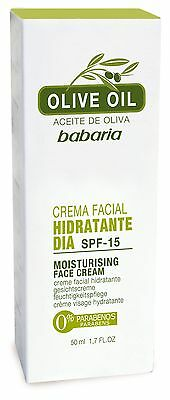 Babaria Olive Oil Moisturising Day Cream with SPF 15 Anti Ageing 50ml New