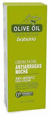 Babaria Night Anti wrinkle Moisturising  Face Cream with Olive Oil 50ml New