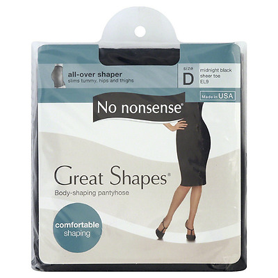 No Nonsense Great Shapes Body Shaping Pantyhose, Size D, Midnight Black 1 ea 2pk
