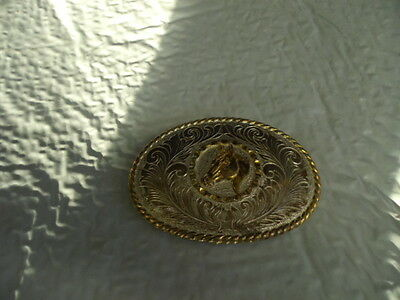 Gold and Silver Horse Head Belt Buckle