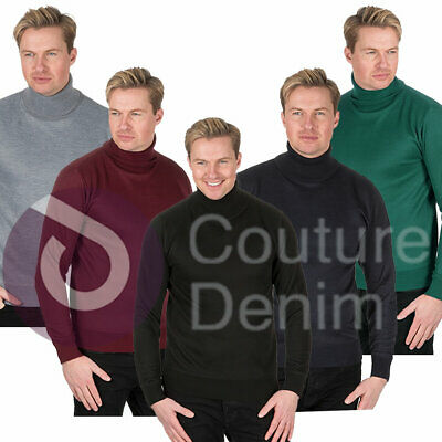 Mens Knitted Roll Turtle Polo Funnel Neck Jumper Winter Sweater Smart Top Warm