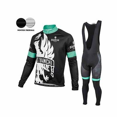 Cycling Winter Thermal Fleece Long Bianchi Jerseys Bike Maglie Ropa Ciclismo