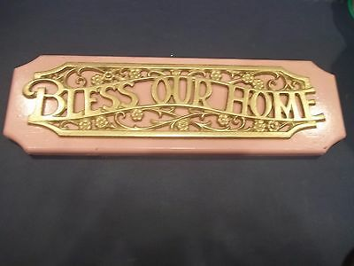 """Vintage Bless Our Home Brass Tone Wooden Sign Plaque 17"""""""