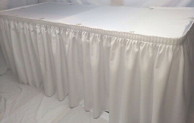 Mixed 21' White Polyester Pleated Table Skirting