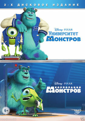 Monsters University/Monsters, Inc (DVD, 2014, 2-Disc Set) Russian,English