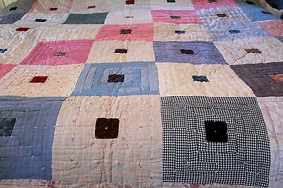 Antique Primative Log Cabin Quilt Rose Fabric Backing Silk Velvet Linen Cotton