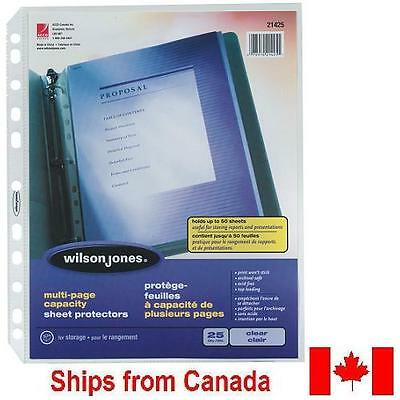 NEW Wilson Jones Clear Letter-Size Multi-Page Capacity Sheet Protectors - 21425