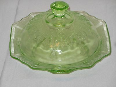 """princess"" Depression Glass Butter Dish With  Lid.. Green..1930's"