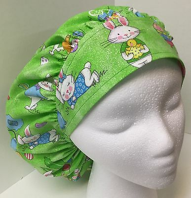 Easter Bunnies Sparkle Large Medical Bouffant OR Scrub Cap Surgery Hat