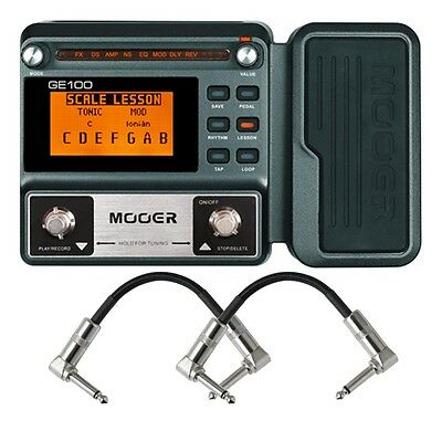 Mooer GE100 Guitar Multi-Effects FX Processor w/ Expression Pedal + Patch Cables