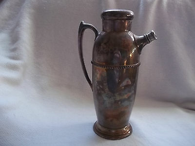Antique Martini Shaker Poole Silver Co. 1002 Cocktail Decanter Patina