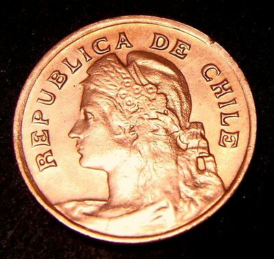 Chile, 1 Centavo 1919, Km# 161.2, High Quality Copper Coin, Lot # 08