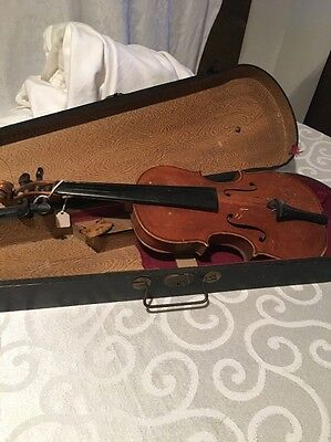 Antique Collectable Vintage Childs Violin With Case OLD COOL COLLECTABLE