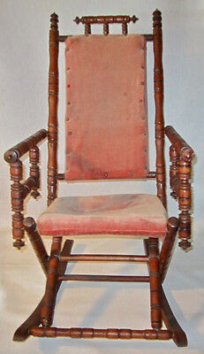 """Antique Victorian Turned Spool Spindle """"Carpet"""" Style Rocking Chair"""