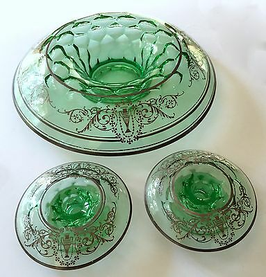 Antique Green Glass Centerpiece Bowl & Two Candlesticks Sterling Silver Overlay