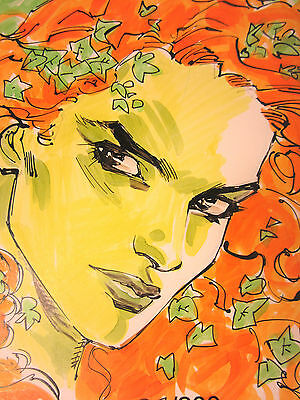 "Poison Ivy Sketch Original Color Art By Tony S Daniel  5 1/2 X 8 1/2"" Dc Comics"