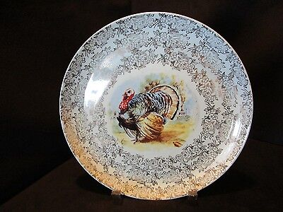 "Vintage Royal China 22 k Gold Trim Thanksgiving Turkey Plate 18 1/8"" across"