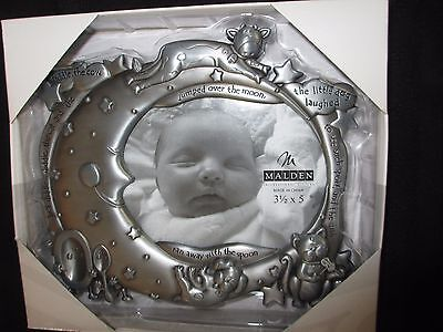 NIB MALDEN Pewter Silver Picture Frame for Baby Nursery 3.5 X 5 Cow Jumping Moon