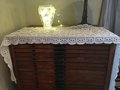 """Gorgeous Antique Floral Scalloped Lace Runner 78""""x19"""""""