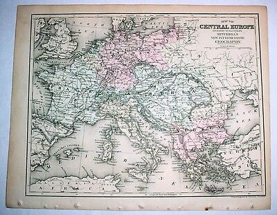 1879 Antique Hand-Colored Map: Central Europe Austria Prussia France Turkey
