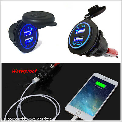 Mini Dual Port USB Charger Power Adapter With Blue LED Ring Fot Car Boat Motor