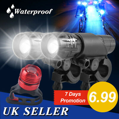 UK 2x CREE Q5 LED Bike Bicycle Waterproof Zoomable Front Lights +Rear Lamp Light
