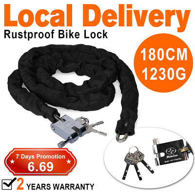 1.8m Metal Motorbike Motorcycle Bicycle Heavy Duty Chain Lock Padlock Bike Cycle