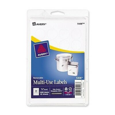 "Avery 5408 Removable 3/4"" Round White Labels for Inkjet/Laser/Write 1008 Qty"