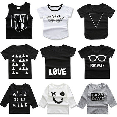 Baby Toddler Kids Boys Print Cotton Vest T shirts Casual Basic Tee Tops Clothes