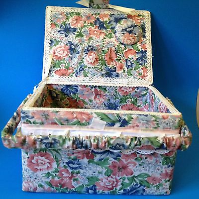 As New - Floral Fabric Covered - Handled Sewing Basket - Very Tidy