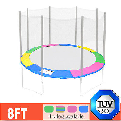 244cm 8FT FOOT 6 Poles Replacement Trampoline Spring Cover Padding PAD Safety UK