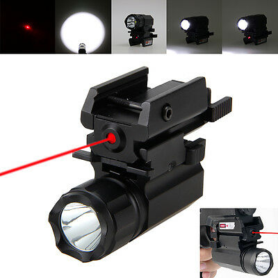 Tactical 2000LM R5 LED Rifle Flashlight Lamp Rail Mount 20mm&Red Dot Laser Sight