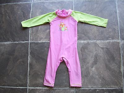 Baby Girl's Bright Bots Long Sleeve Long Leg Rashie/Rash Suit/Swimmers Size 00