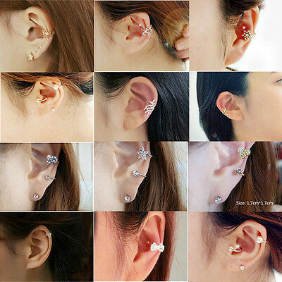 1pc New Women Lady Silver Gold Crystal Ear Cuff Cartilage Wrap Non Piercing Clip