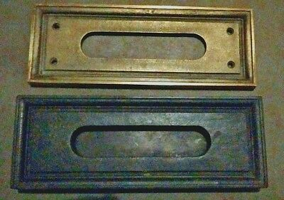 Antique Brass and Cast Iron Victorian Door Mail Slot 2 pieces inside and out