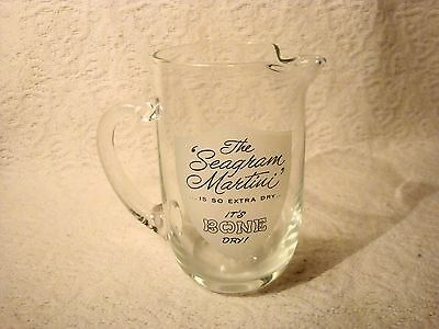 Vintage Small Clear The Seagram Martini Is So Extra Dry It's Bone Dry Pitcher