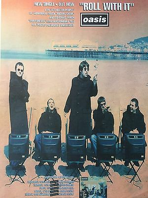 """OASIS # ROLL WITH IT # ORIGINAL 1995 SINGLE RELEASE ADVERT # 16"""" x 12"""""""