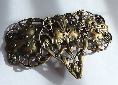Vintage original Art Nouveau 2-part, gold-tone metal buckle w steel rivets