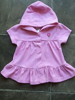 Baby Girl's Pink Towelling Hooded Pool/Beach Jacket/Dress Size 00 VGUC