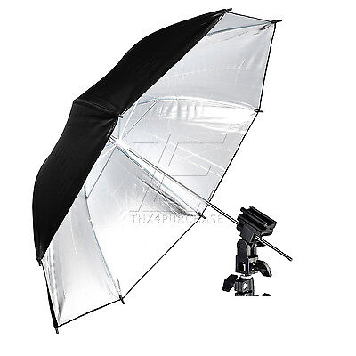 Photo Studio Silver Reflective Reflector Umbrella + Flash Bracket Mount Kit NEW