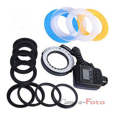 Ring Light Macro Flash fit for Canon Nikon DSLR Camera 48 LED + 8 Lens Adapter