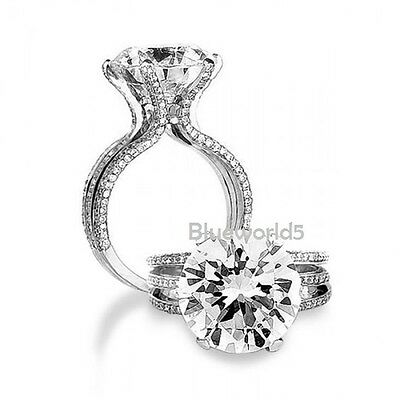 Hug 6Ct Brilliant Cut Off White Moissanite Engagement Ring 925 Sterling Silver