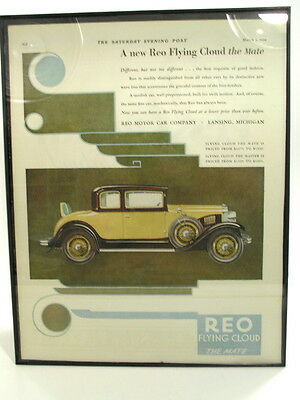 """FRAMED AUTOMOTIVE ADVERTISEMENT - 1929 REO FLYING CLOUD - 11' x 14"""""""