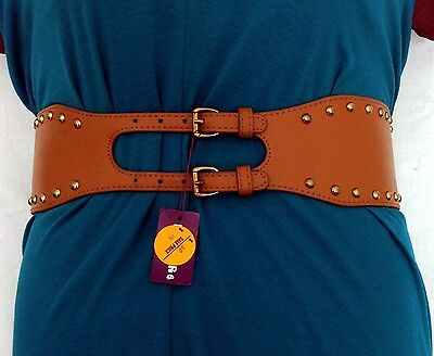 New Quality Ladies Wide Waist Stud Belt by Pleasure.  Tan.  Aus Seller.